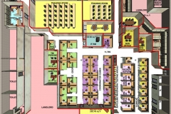 ARIAL VIEW OF OFFICE FIT PLAN w/ 3D VIEW OF WALLS & FURNITURE