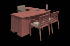 3D EYE LEVEL VIEW OF OFFICE DESK
